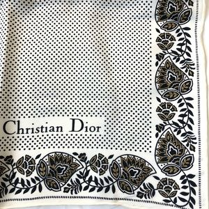 Vintage polka dot Christian Dior Silk Scarf